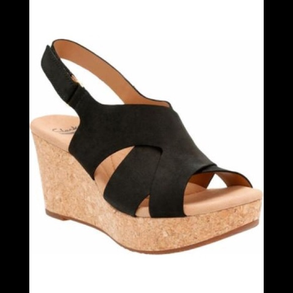 cf7527ccd2c NIB CLARKS Women s Annadel Fareda Wedge Sandals